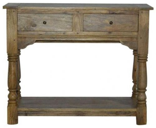 Mango Wood Hall Console Table With Drawers
